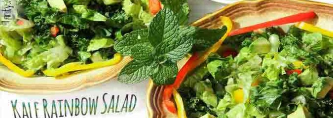 Rainbow Kale Salad with Mint Infused Dressing