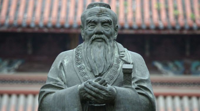 Confucius statue in Confucius Temple in Suzhou (China)