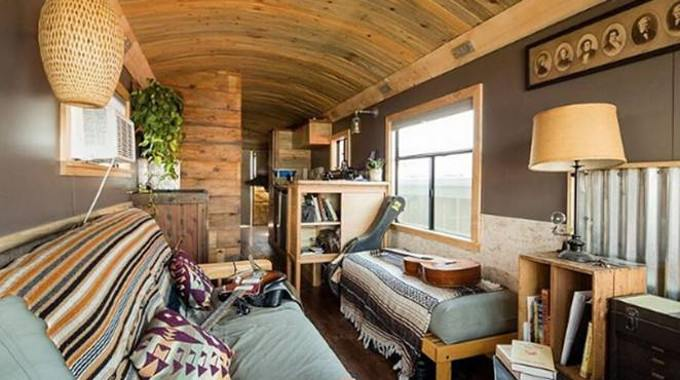 Professional Bus Homebuilder Lives in His Own Woodwork Dream Bus